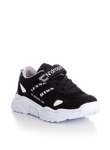 Tonny Black Siyah Beyaz Çocuk Spor Ayakkabı Tb059  Siyah